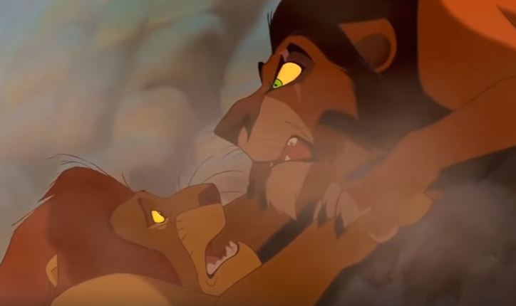 Scar kills Mufasa in The Lion King
