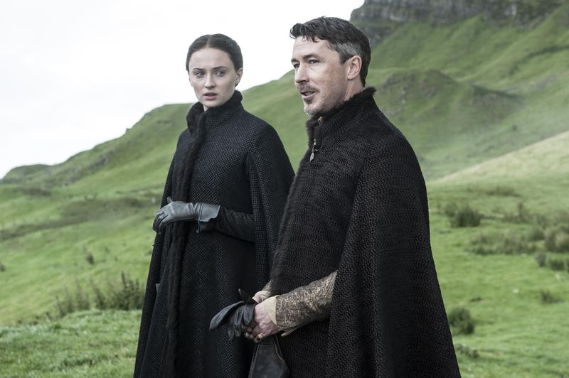 Maisie Williams To Be Bridesmaid At Sophie Turners Wedding Sophie Turner as Sansa Stark and Aidan Gillen as Littlefinger   photo Helen Sloan HBO.0