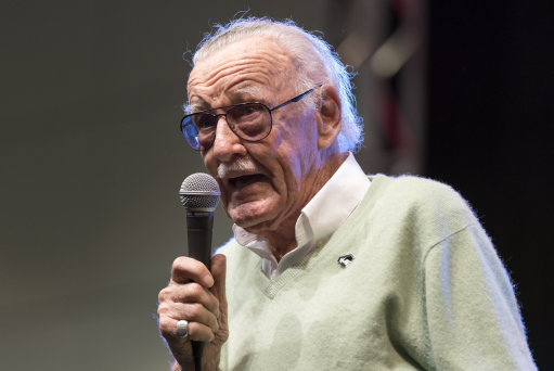 Stan Lee the Marvel Comics legend speaking at the LA Comic Con
