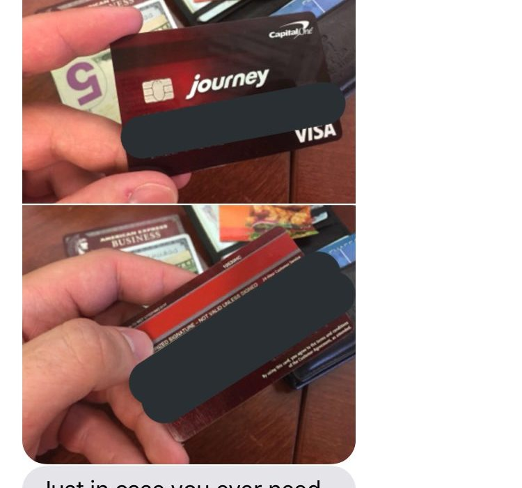 Random Guy Gives Girl His Credit Card, She Sends Perfect Picture Back CARD 750x700