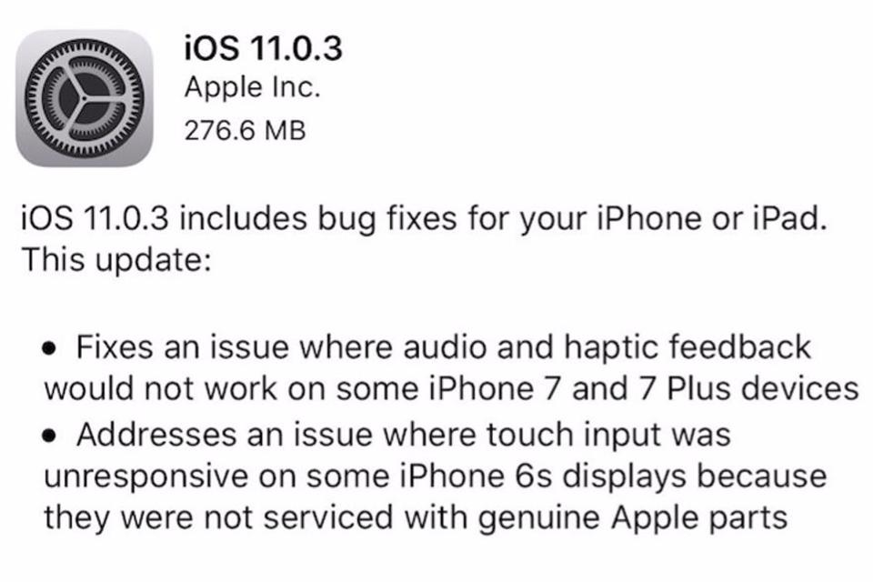 New Version Of Apples iOS Is Causing More Problems 11.0.3