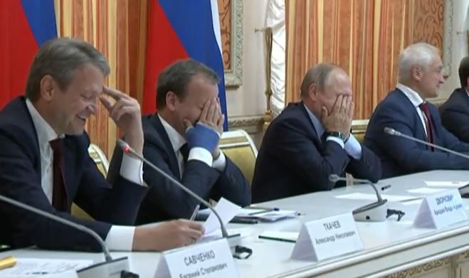 Putin Cant Stop Laughing At Meeting About Exporting Pork To Muslim Country Capture sev