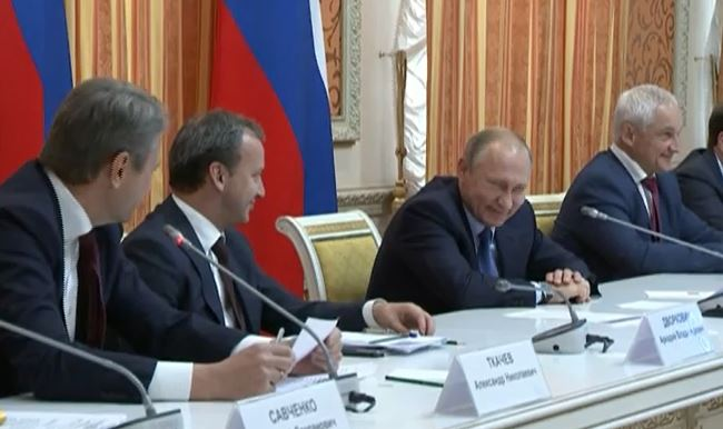 Putin Cant Stop Laughing At Meeting About Exporting Pork To Muslim Country Capture we