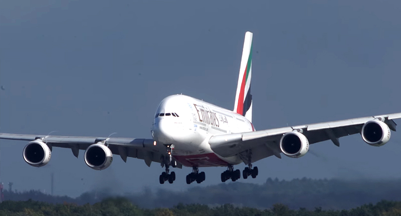 Freak Accident At 30,000ft Sees Plane Land With Severely Dented Nose emirates landing fb final