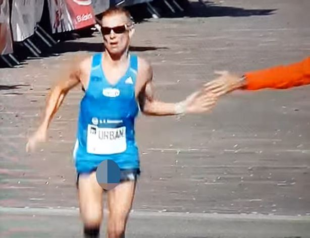 Marathon Runners Privates Fall Out As He Crosses The Finish Line