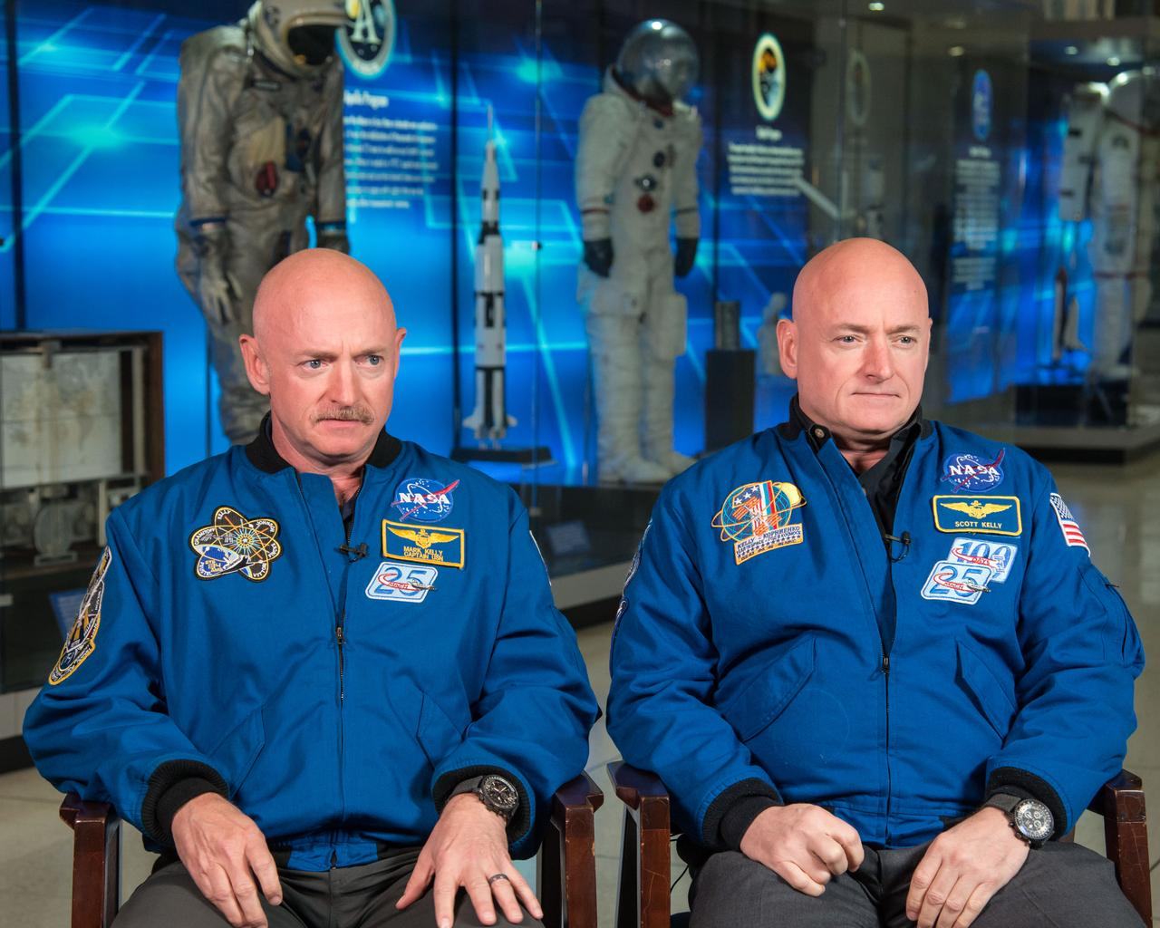 NASA Sent An Identical Twin To Space For A Year And He Changed Drastically scott kelly sitting side by side nasa