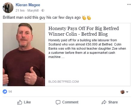 Builder Wins £50,000 On Bet Minutes After Handing Back £30 From ATM Colin