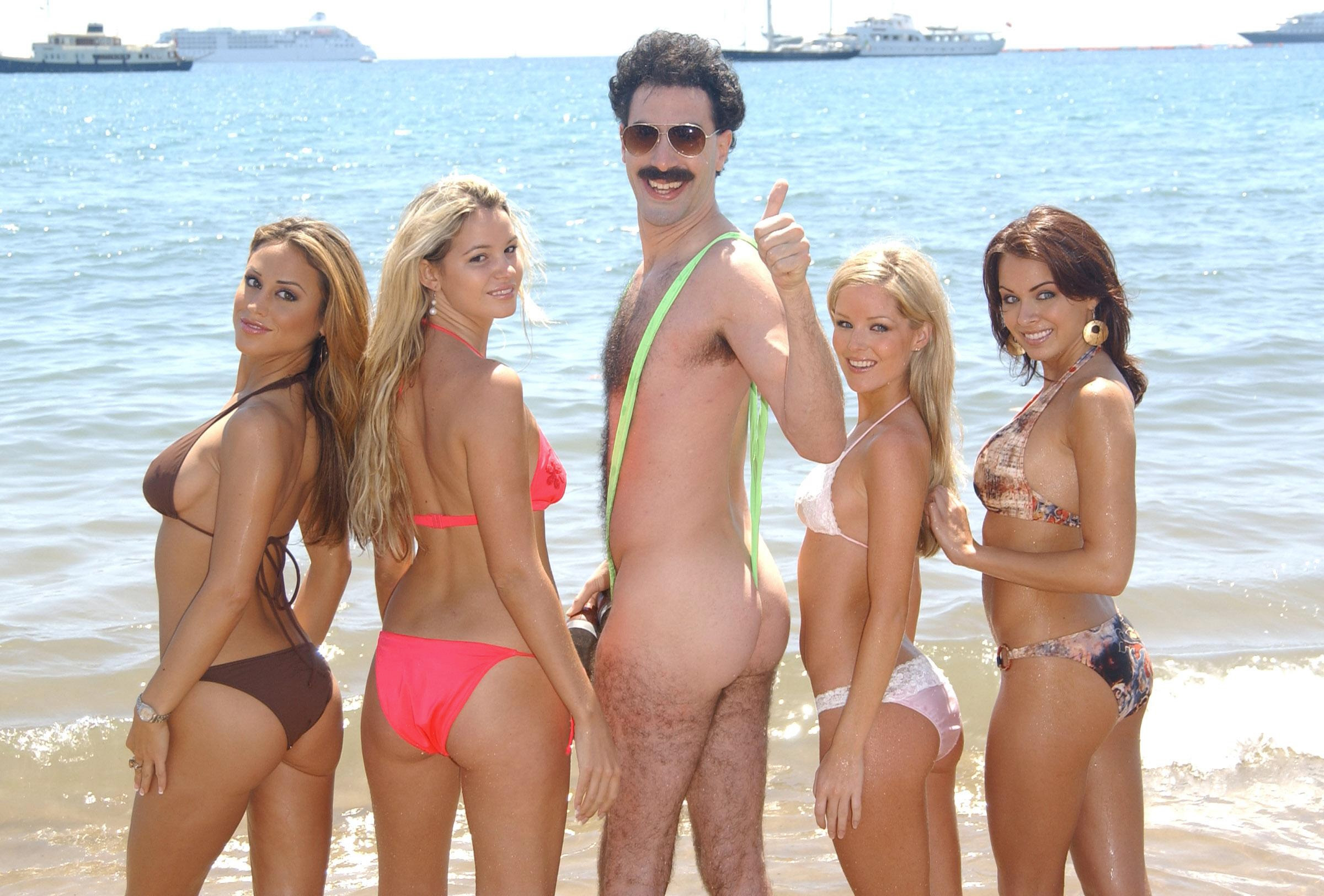 ef605eb736 Sacha Baron Cohen Pays Fines For Guys Dressed In Borat Mankinis