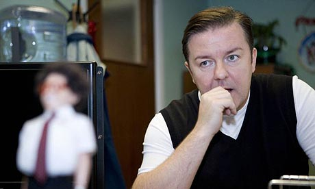 A still from the Extras Christmas special by Ricky Gervais