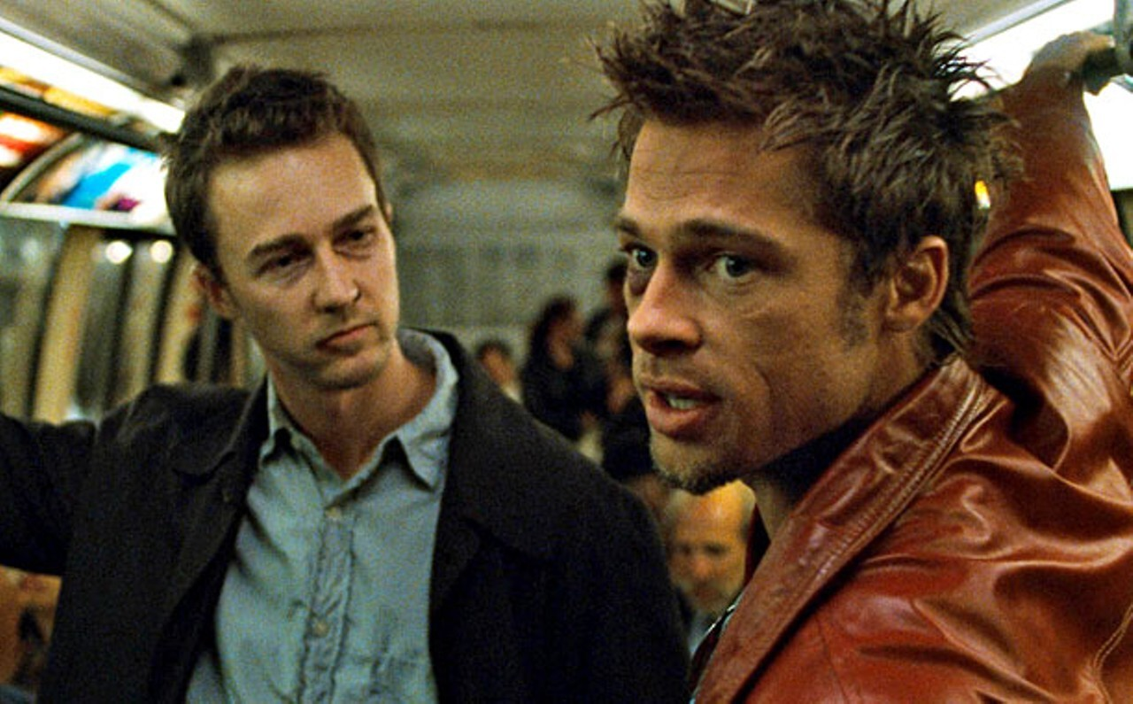 a still from Fight Club with Edward norton and Brad Pitt, the story follows a character with schizophrenia to a violent end