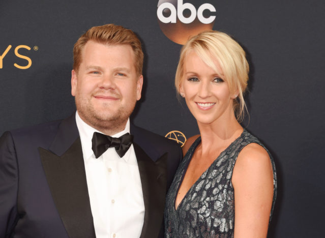 James Corden and wife.