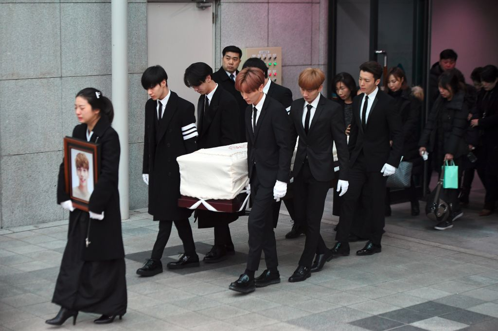 K Pop Superstars Bandmates Carry His Coffin At Emotional Funeral GettyImages 896332976