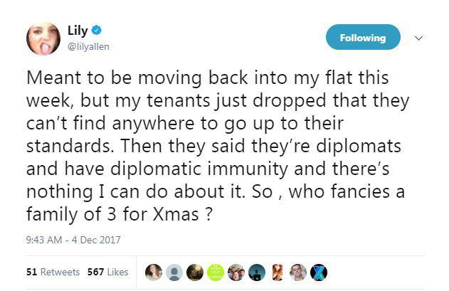 Lily Allen Says Shell Be Homeless At Christmas Lily Homeless Tweet