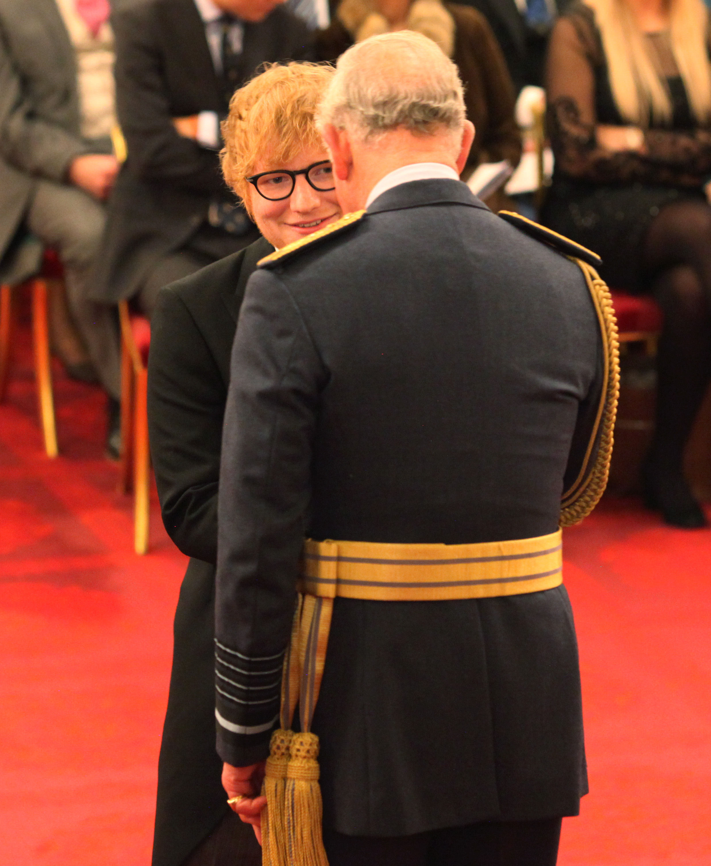 Ed Sheeran Breaches Royal Protocol While Receiving MBE PA 34041839