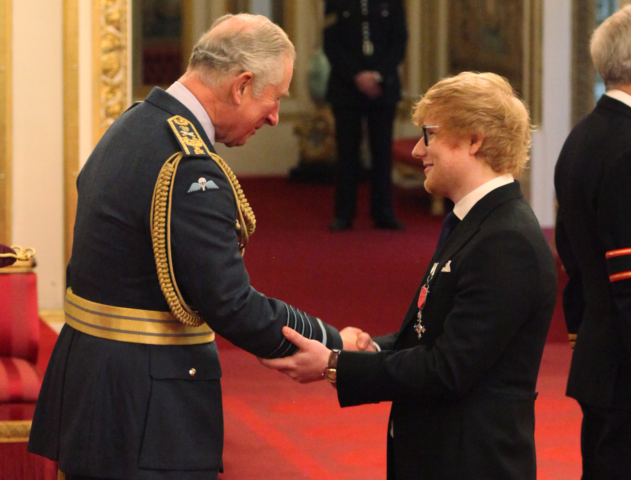 Ed Sheeran Breaches Royal Protocol While Receiving MBE PA 34041896