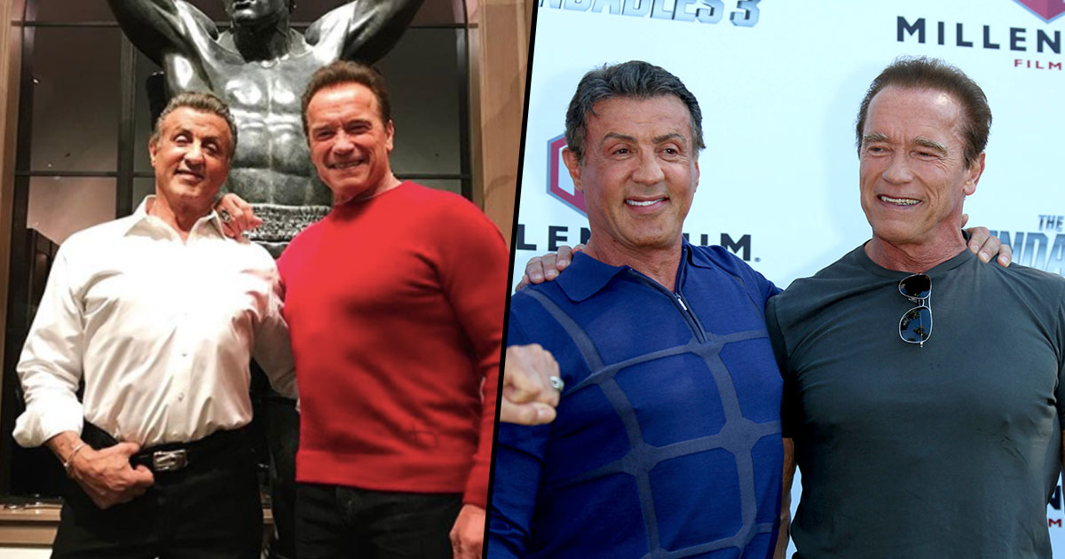 Sylvester Stallone Gets Christmas Visit From Old Friend Arnold Schwarzenegger Sly face