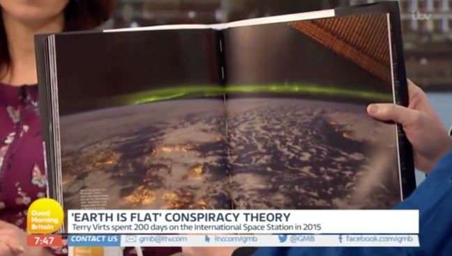 Conspiracy Theorist Gives Proof Earth Is Flat Leaving Astronaut Stunned space station flat