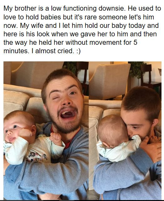 Pic Of Man With Downs Syndrome Holding Baby Goes Viral For All Right Reasons throop2