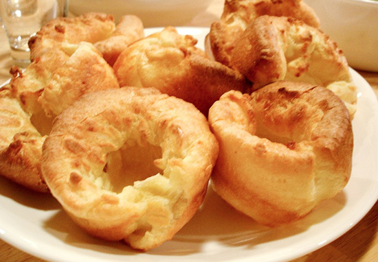 Yorkshire puddings on plate