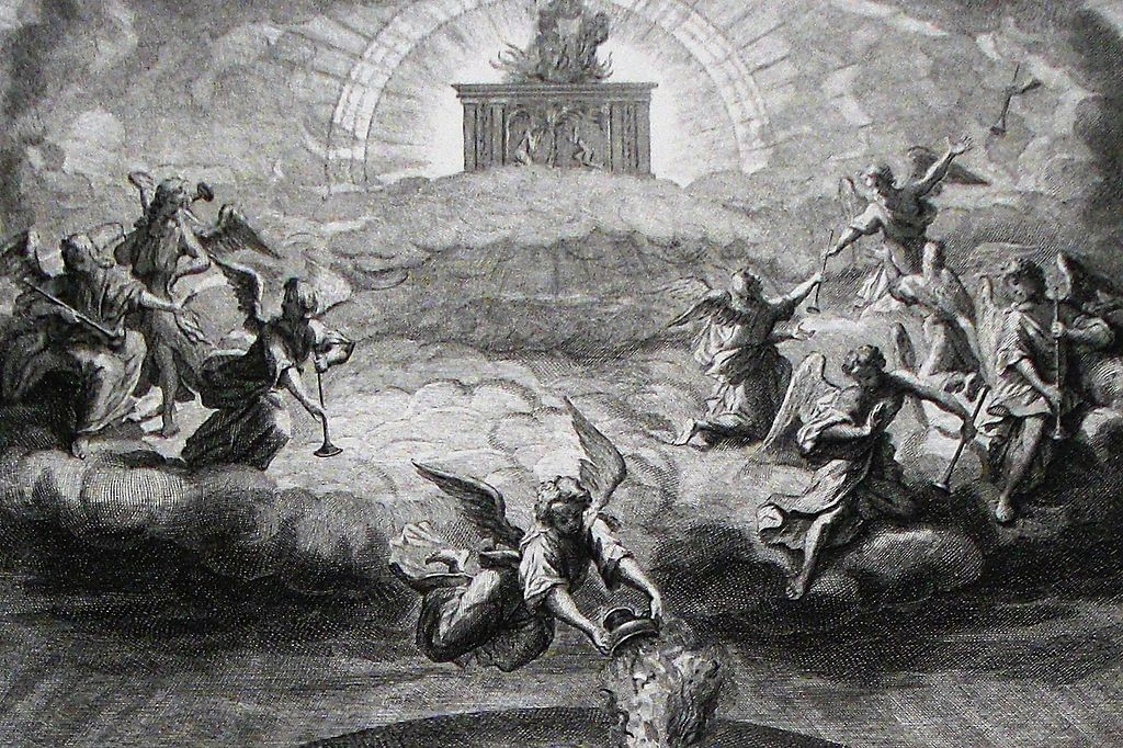 Bible Passage Predicts End Of The World In 2018 Apocalypse 8. Opening the seals. Revelation cap 8 v 1 5. Mortiers Bible. Phillip Medhurst Collection
