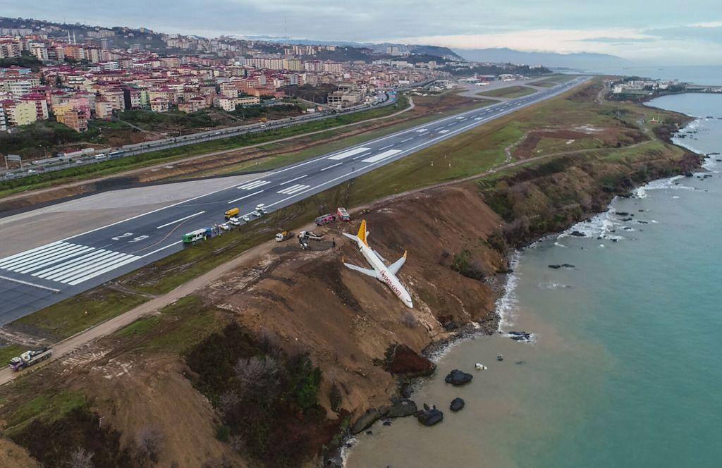 Passenger Jet Skids Off Runway And Almost Slides Into The Sea GettyImages 904745354