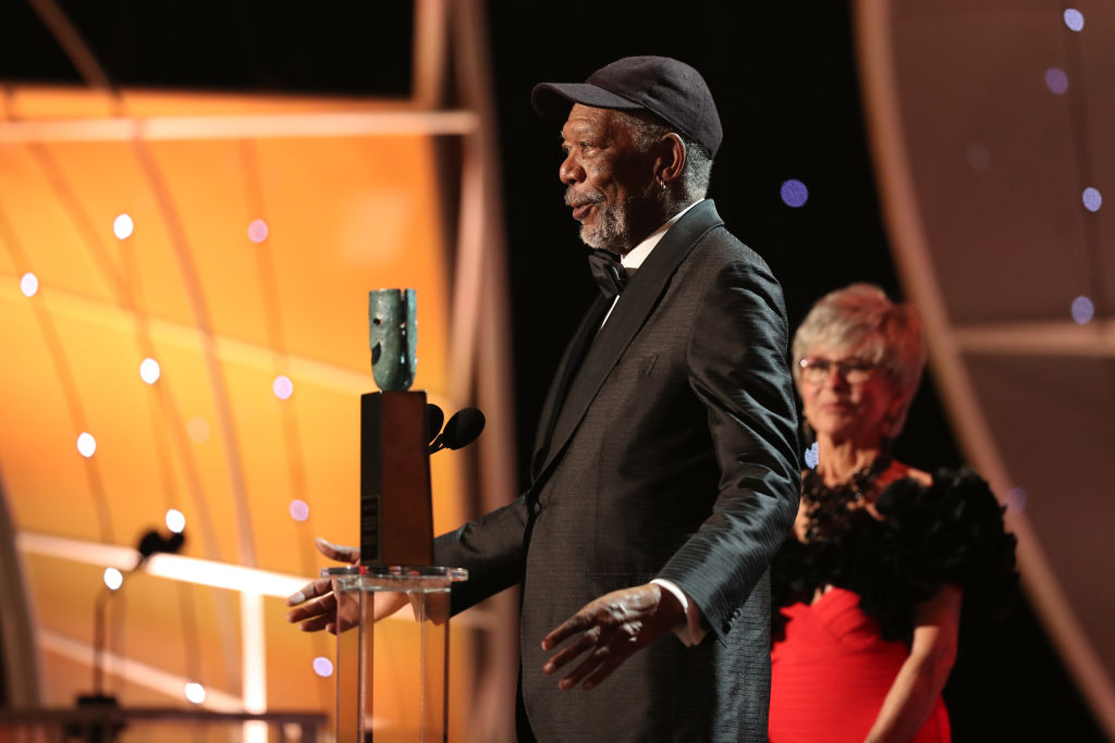 Morgan Freeman Calls Out Heckler During Lifetime Achievement Award Speech GettyImages 908548346