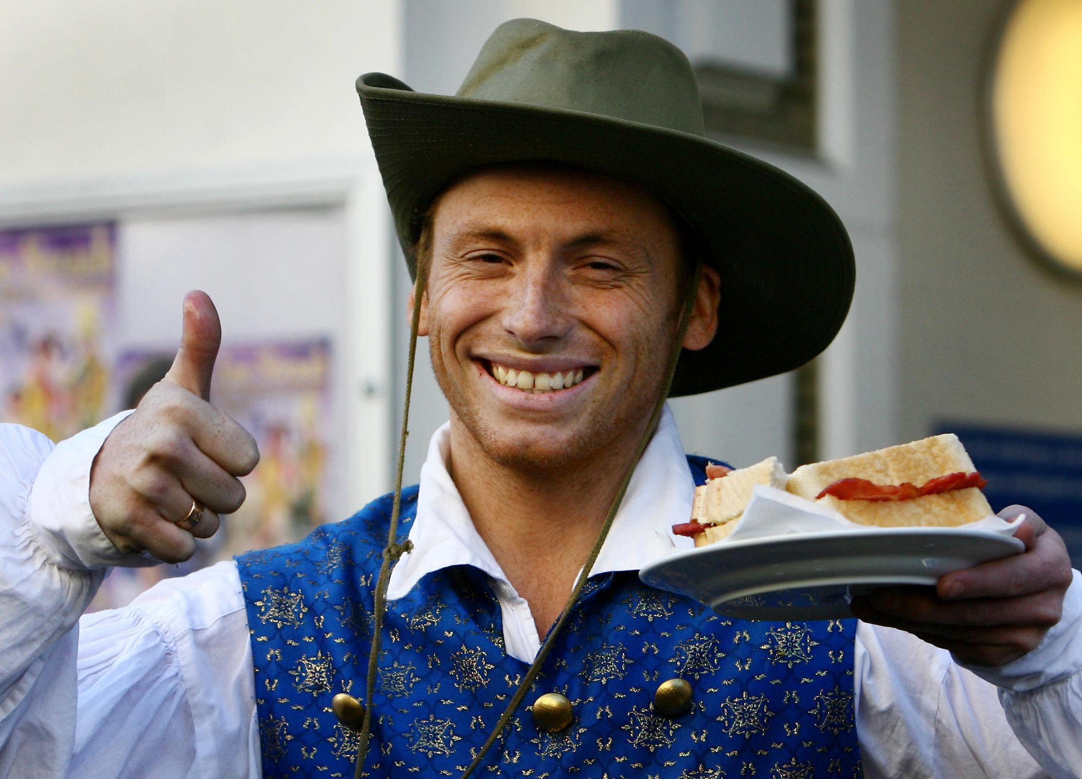 Actor and presenter Joe Swash with a sandwich