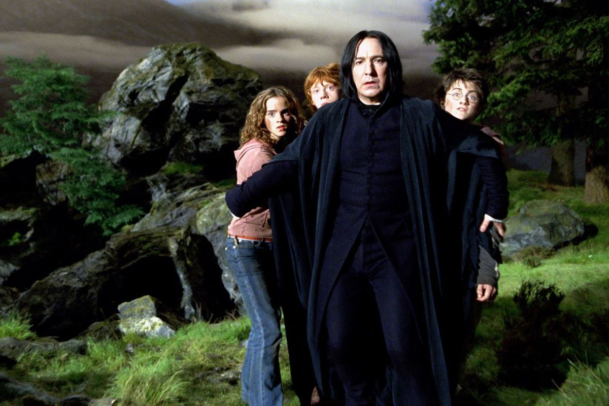 snape with harry potter, ron and hermione, alan rickman, daniel radcliffe, emma watson and rupert grint