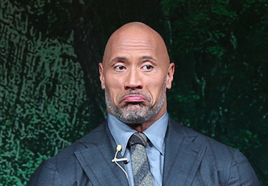 The Rock frowning