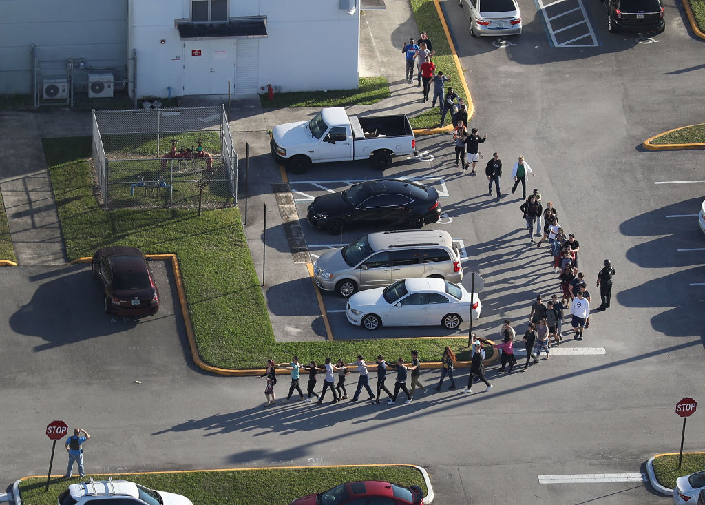 stoneman douglas students exiting building after shooting