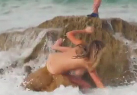 Kate Upton Swept Off Rock By Big Wave During Topless Photoshoot