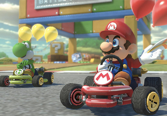 Super Mario and Yoshi in Mario Kart