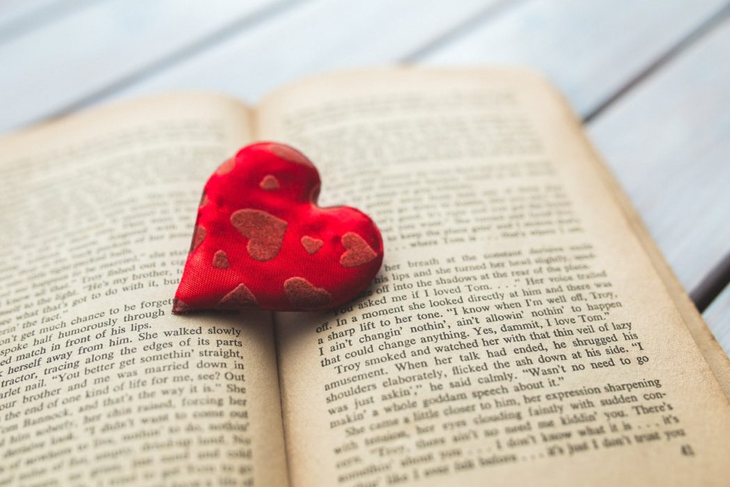 red love heart book