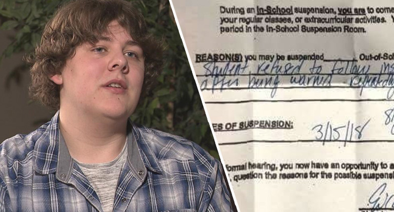 Student Suspended After Sitting Alone In Class During Anti-Gun Walk-Out