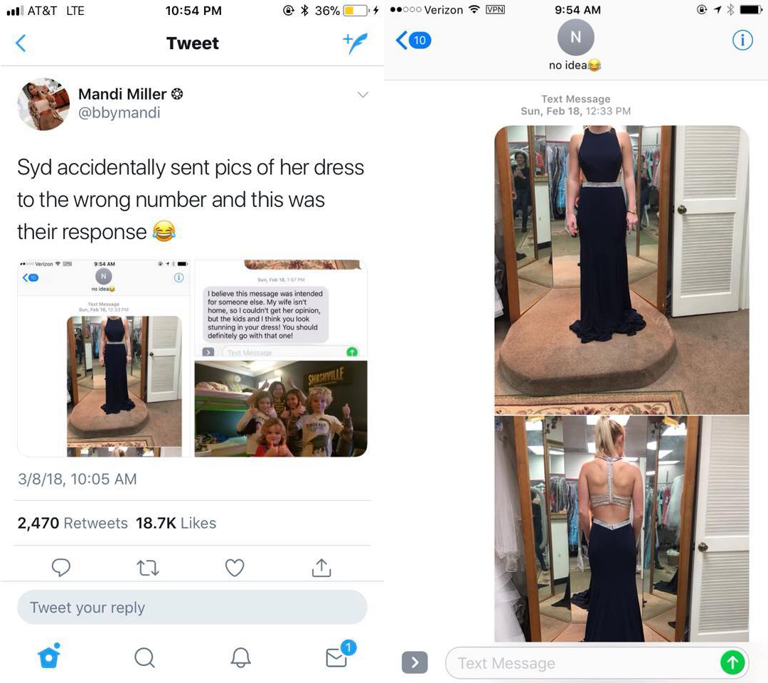Girl Sends Photo Of Dress To Wrong Number, Raises $15,000 For Boy With Cancer dress text 1
