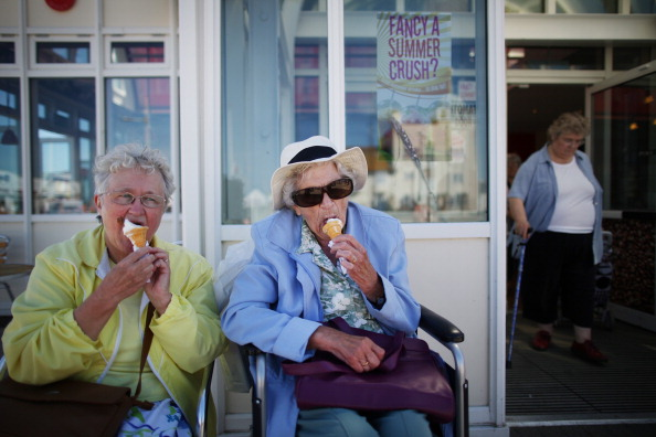 Old people cool down with a delicious ice cream