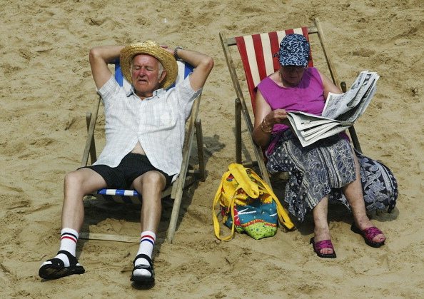 Sunbathing on the beach in Blackpool