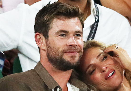 Actor Chris Hemsworth with wife