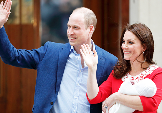 Kate Middleton and Prince William Emerge following Birth of Prince Louis