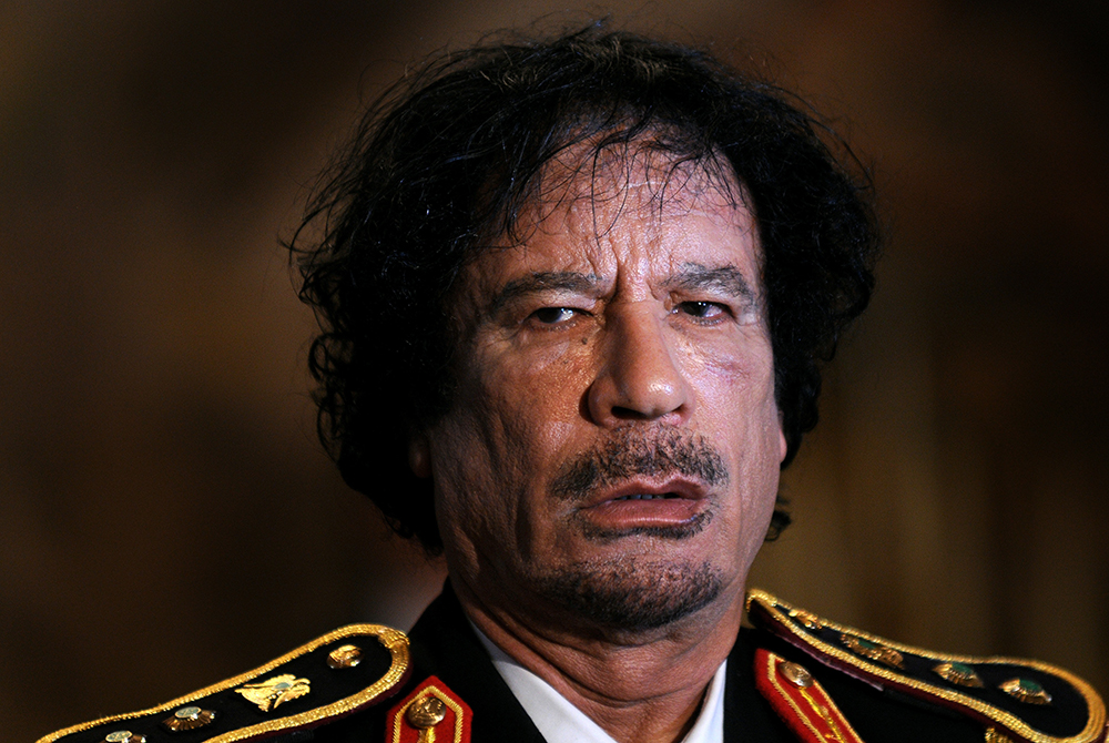 Libya's Muammar Gadhafi in first visit to ex-colonial power Italy, in Rome, Italy on June 10, 2009.