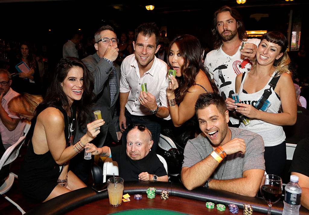 Poker player Tiffany Michelle, Lupus LA Chairman of the Board Adam Selkowitz, actor Verne Troyer, poker player Maria Ho and guests attend the Get Lucky for Lupus LA Celebrity Poker Tournament in Los Angeles