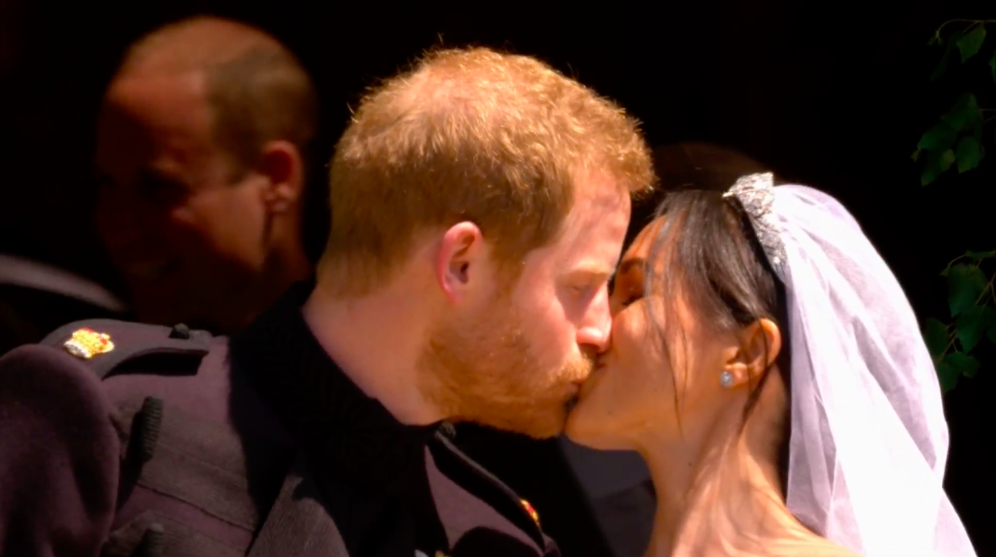 Meghan Markle And Prince Harry Share First Kiss After Getting Married