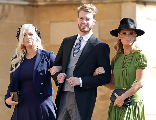 Louis Spencer at the Royal wedding with sister and mother