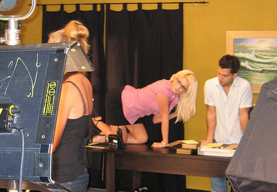 Two actors on an adult film set