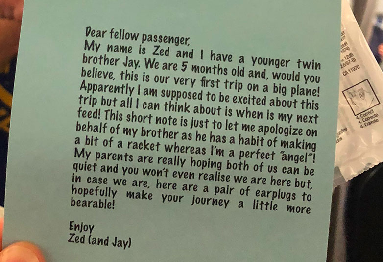 Man Hands Out Notes And Earplugs From His Baby Twins On Their First Flight Baby1