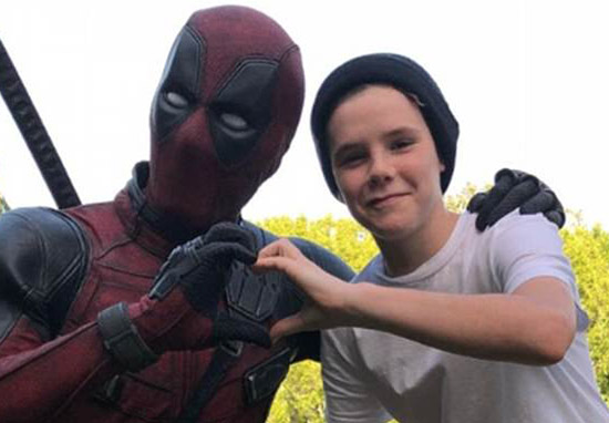 Cruz Beckham with Deadpool