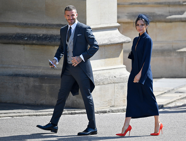 David and Victoria attending Prince Harry and Meghan Markle's Wedding