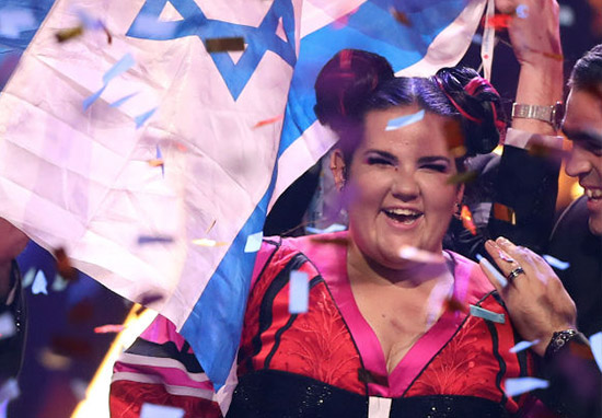 Netta of Israel celebrates after winning the 2018 Eurovision Song Contest