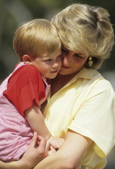 Prince Harry with his mother, Princess Diana