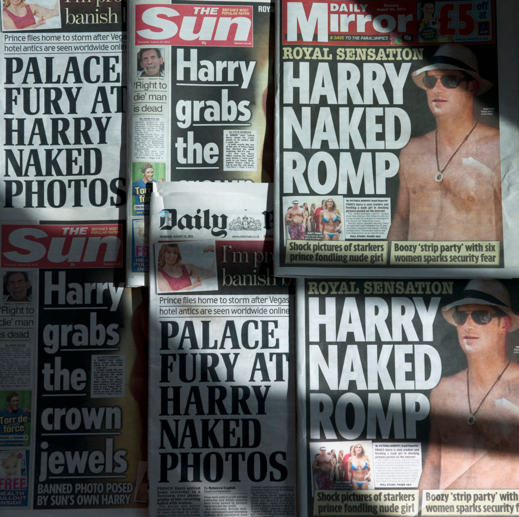 Prince Harry's numerous tabloid front pages